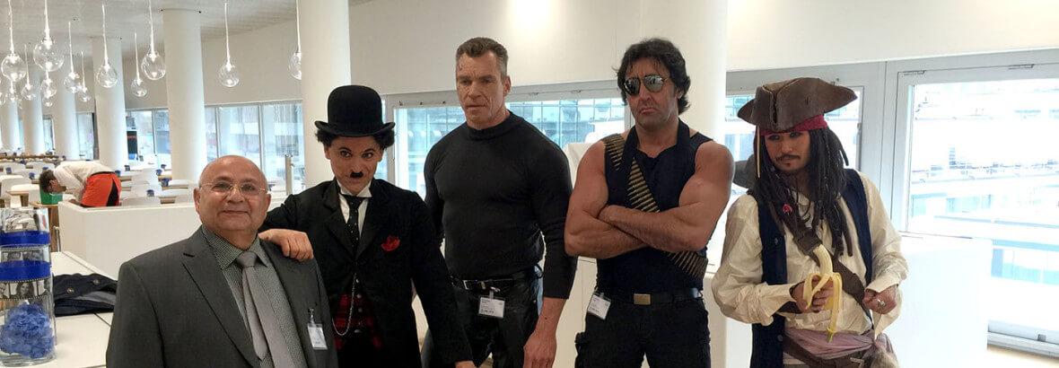 Charlie Chaplin, Terminator, Jack Sparrow