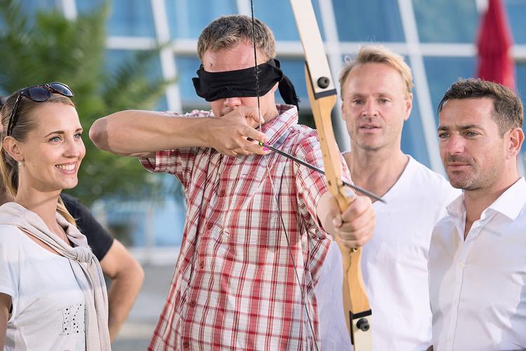 Bogenschießen Teamgeist Zielen Blindschuss Intuitiv