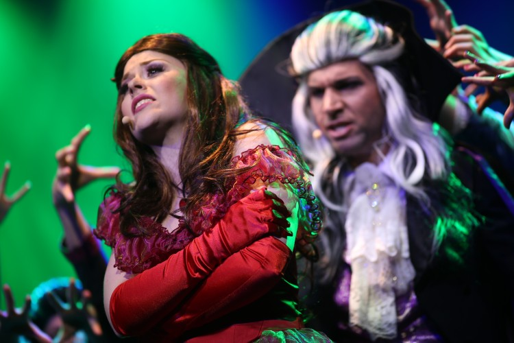 Theater, Mann und Frau geschminkt und verkleidet